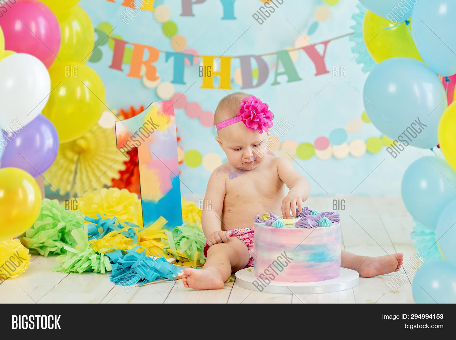 First Birthday Smash The Cake Cream On Legs Festive Background Decoration For With Year Concept Greetings