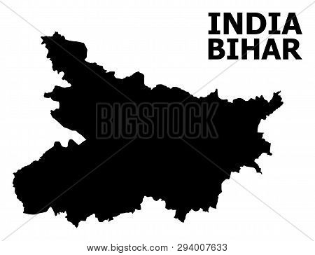 Vector Map Of Bihar State With Title. Map Of Bihar State Is Isolated On A White Background. Simple F