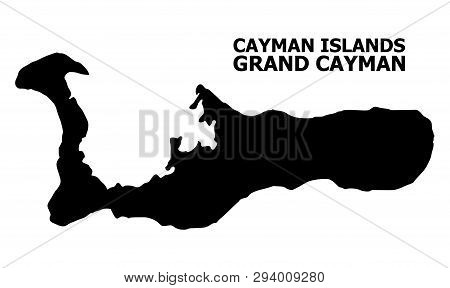 Vector Map Of Grand Cayman Island With Title. Map Of Grand Cayman Island Is Isolated On A White Back