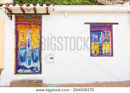 Bogota,  Colombia  March 31 Bogota Door And Window Decorated In Candelaria District Known For Its Co