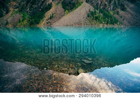 Plants And Stones On Bottom Of Mountain Lake With Clean Water Close-up. Giant Mountain Range Reflect