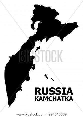 Vector Map Of Kamchatka Peninsula With Name. Map Of Kamchatka Peninsula Is Isolated On A White Backg