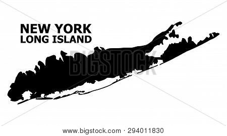 Vector Map Of Long Island With Title. Map Of Long Island Is Isolated On A White Background. Simple F