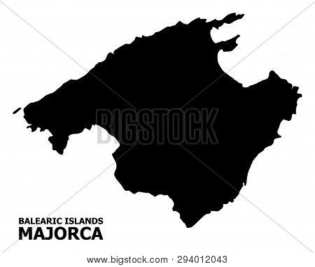 Vector Map Of Majorca With Name. Map Of Majorca Is Isolated On A White Background. Simple Flat Geogr