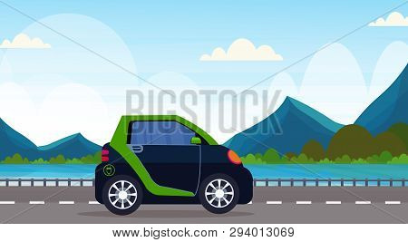 Electric Car Driving Highway Road Eco Friendly Vehicle Clean Transport Environment Care Concept Beau