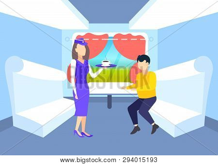 Train Stewardess Serving Hot Drink To Male Passenger Sitting In Train Compartment During Vacation Tr