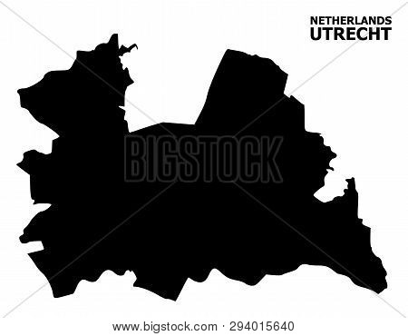 Vector Map Of Utrecht Province With Title. Map Of Utrecht Province Is Isolated On A White Background