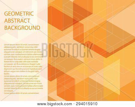 Beautiful Classic Orange, Yellow And White Polygon Shape In Minimal Modern Trendy Geometric Concept.