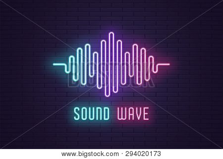 Neon Composition Of Digital Sound Wave. Vector Abstract Illustration Of Neon Music Wave Shape. Wavy