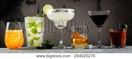 Selection Of Classic Cocktails - Cosmopolitan, Mojito, Bloody Mary, Old Fashioned, Margarita, Aperol