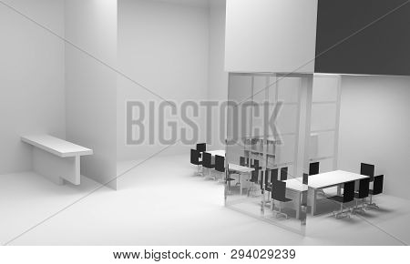 Office Interior. 3d Illustration  Modern Interior 3d.