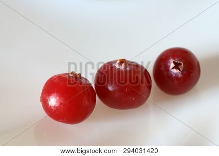 Three Ripe Cranberries On White Background. Close Up