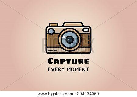 Capture Every Moment. Vintage Camera Or Retro Camera, Vector Flat Illustration