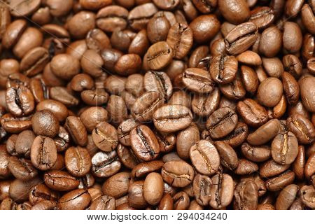Coffee Beans Close Up. Coffee Beans Background. Full Frame