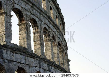 Roman Ruins In Pula. Croatia. Amphitheater Against Sky