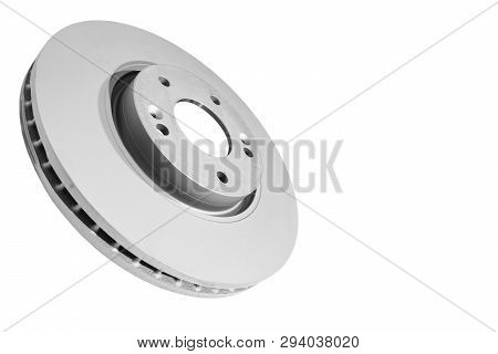 Brake Disc Isolated On White Background. Auto Parts. Brake Disc Rotor Isolated On White. Car Part. C