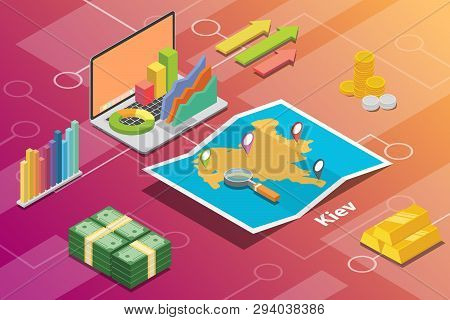 Kiev Or Kyiv City Isometric Financial Economy Condition Concept For Describe Cities Growth Expand -