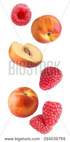 Falling Fresh Berries And Peaches Isolated On White Background
