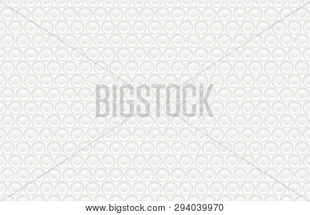 Abstract Embossing Volume White Texture, Vector Seamless Pattern. Depressed Round Shape Background,