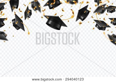Graduation Caps Confetti. Flying Students Hats With Golden Ribbons Isolated. University, College Sch