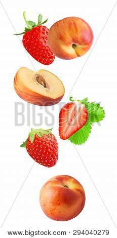 Falling Fresh Berriy And Peaches Isolated On White Background
