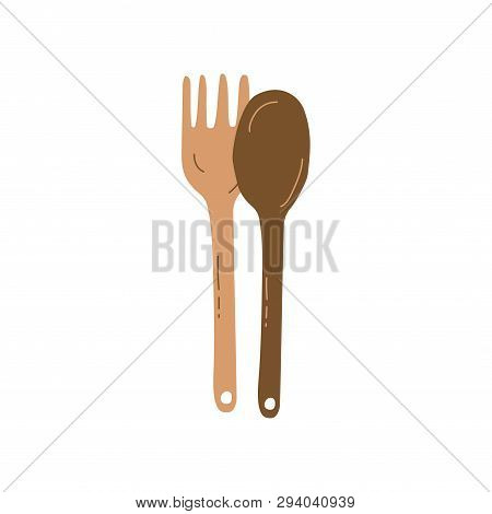 Wooden Fork And Spoon, Zero Waste Reusable Object, Eco Lifestyle Concept Vector Illustratio