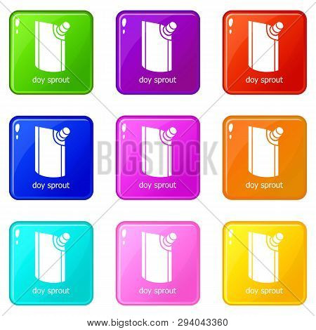 Doy Pack Icons Set 9 Color Collection Isolated On White For Any Design