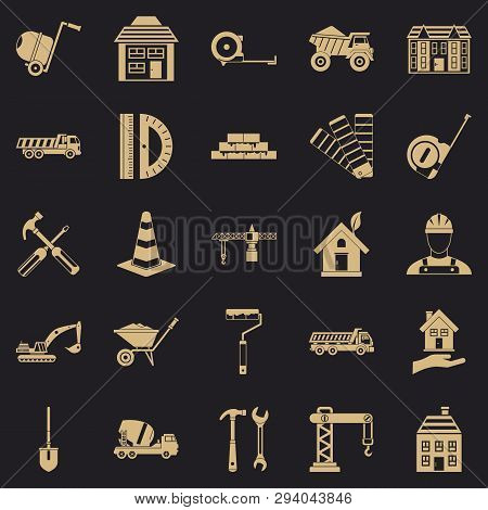 Erection Icons Set. Simple Set Of 25 Erection Vector Icons For Web For Any Design