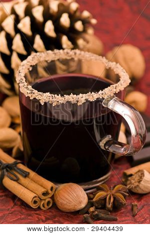 Hot wine Punch with Christmas Decoration