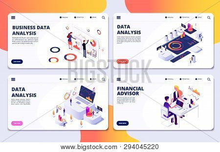 Data Analysis, Financial Adviser, Business Data Analysis Vector Landing Pages Template. Illustration