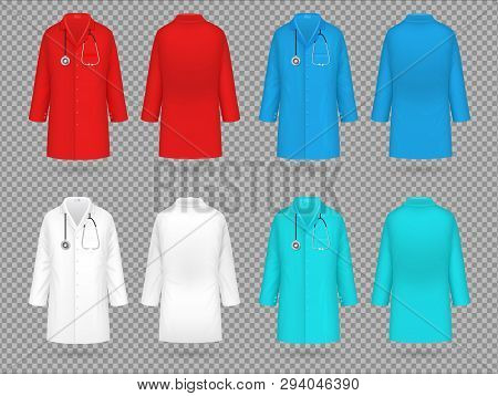 Doctor Coat. Colorful Lab Uniform, Doctor Medical Laboratory Clothes Vector 3d Realistic Isolated Mo