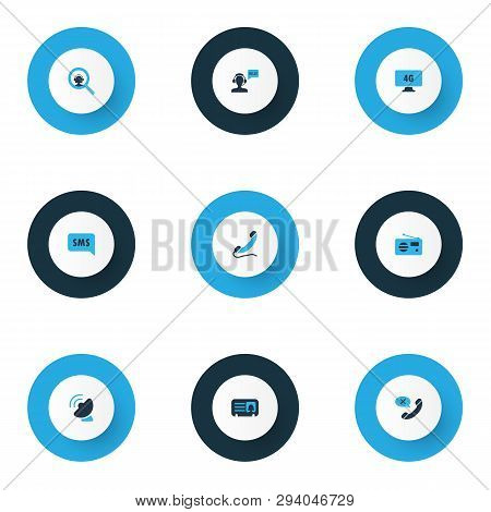 Communication Icons Colored Set With Sms Notification, Greeting Male Operator, Handset Call Elements
