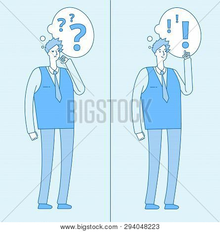Young Confused Man. Thinking Student With Question Marks And Person With Problem Solution. Dilemma A