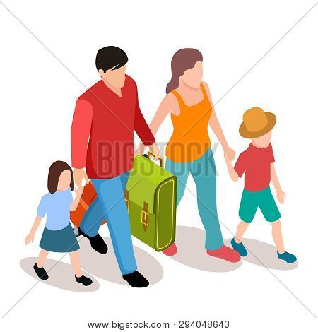 Vector Family With Two Children Traveling Isometric Illustration. Family Journey Together, Mother An