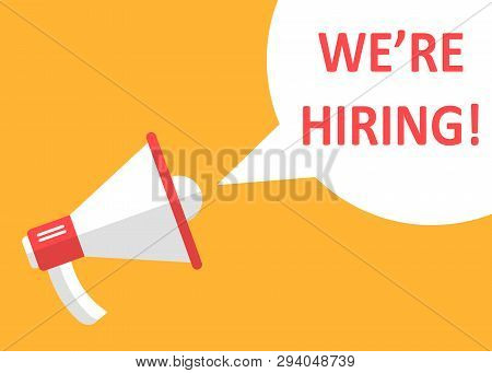 Were Hiring Icon In Flat Style. Job Vacancy Search Vector Illustration On White Isolated Background.
