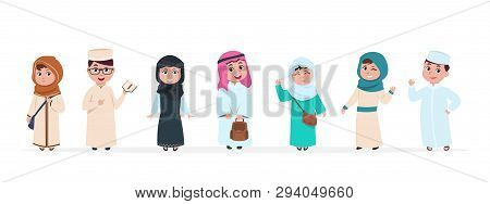 Muslim Kids. Islamic Children Cartoon Characters. School Boy And Girl In Saudi Traditional Clothes V