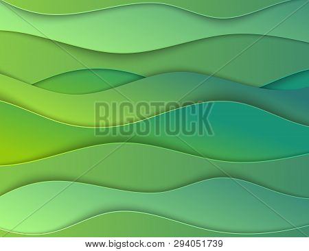 Layered Papercut Carve 3d Backdrop. Green Wavy Card. Eco Layout For Article, Header. Layered Craft.