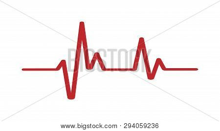 Heartbeat - Vector Icon Heartbeat Line. Heartbeat Icon For Medical Apps. Heart Beat In Red Color