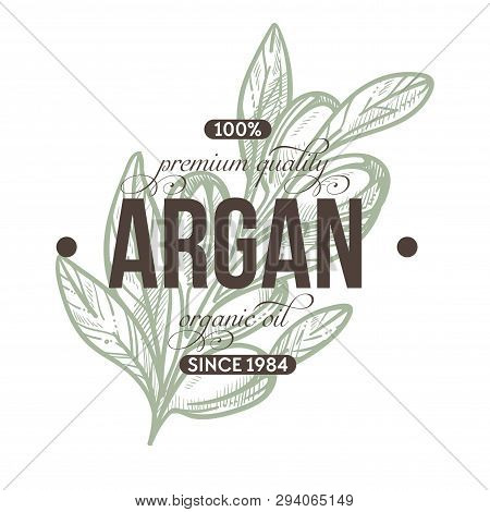Argan Plant Isolated Icon With Lettering Herbs Shop