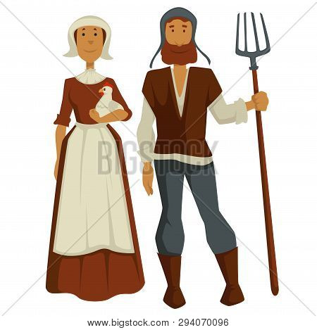 Peasants Family Man And Woman Medieval Isolated Characters
