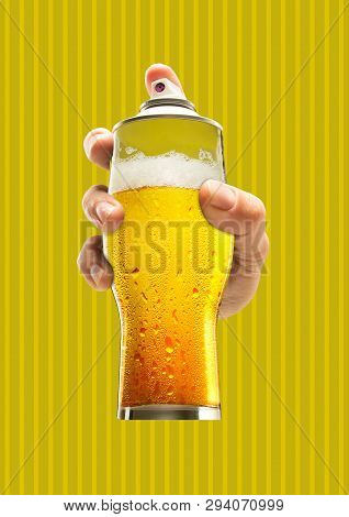 Street art. Male hand holding a glass of cold beer as a spray cannister against yellow-braun background. Modern design. Contemporary art collage. Concept of arts, drawing, drinks or weekend chilling. poster
