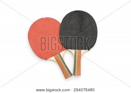Two Old Red And Black Table Tennis Rackets, Isolated On White