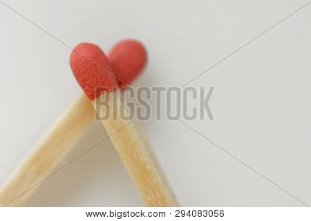 Conceptual Love From Matches On White Background
