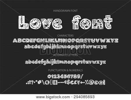 Decorative Valentines Display Font With Hearts. Alphabet Vector Calligraphy Signs. Letter Vector Set