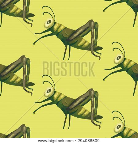 Seamless Vector Pattern With Cute 3d Insect. Illustration With A Garden Cartoon Grasshopper Beetles