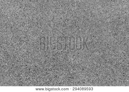 Seamless Asphalt Road Background. Grainy Floor Texture With Gravel Particles, Small Stones, Black, G