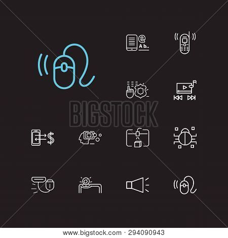 Electronics Icons Set. Steamroller And Electronics Icons With Bullhorn, Old Mobile Phone And Web Cam