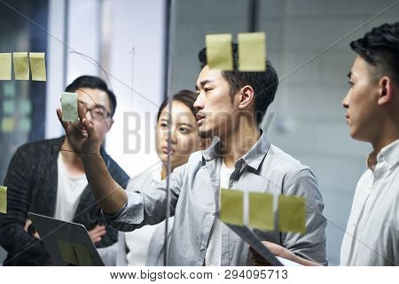 Young Asian Entrepreneur Of Small Company Putting A Adhesive Note On Glass In Office During Team Mee