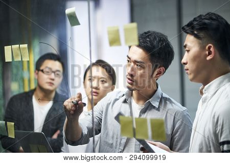 Young Asian Entrepreneur Of Small Company Drawing A Diagram On Glass During Team Workshop In Office