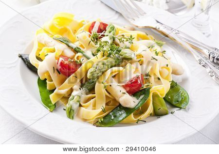 Pasta with vegetable and sauce